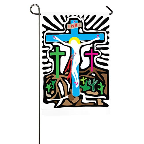 FGBFLAG Golgotha Cross Garden Flag- 18 X 12 Inch Outdoor Holiday Flags - Cross Golgotha