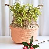 Hot Sale!DEESEE(TM)Seagrass Wicker Basket Wicker Basket Flower Pot Folding Basket Dirty Basket Storage Home Decoration (A)