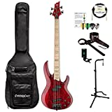 ESP LRB1004SMSTR-KIT-1 RB Series RB-1004SM STR 4-String Electric Bass, See Thru Red