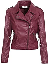 Amazon.com: Red - Leather & Faux Leather / Coats, Jackets & Vests ...
