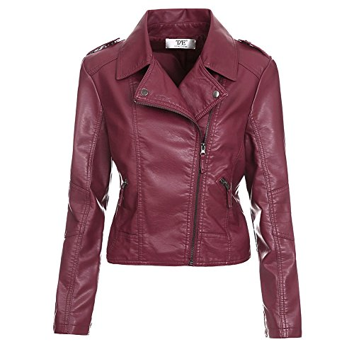 Artfasion Women's Slim Tailoring Faux Leather PU Short Jacket Coat (M, wine red)