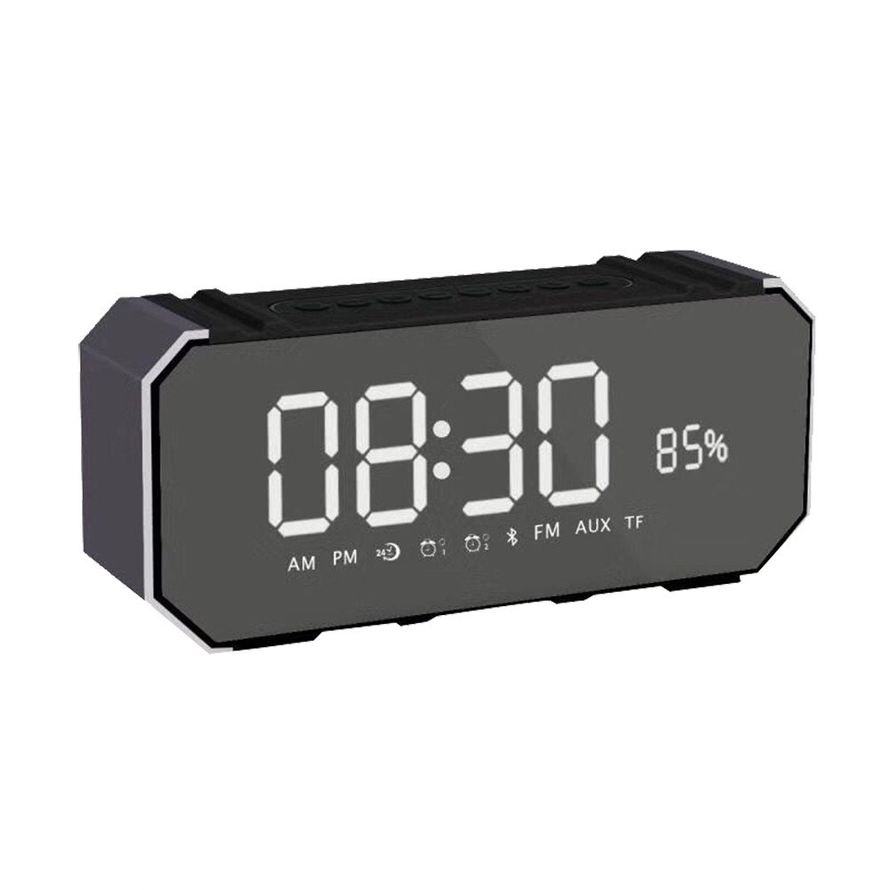 ❤SU&YU❤DG100 Bluetooth Speaker Card Alarm Clock with Display Outdoor Portable Subwoofer (GY)