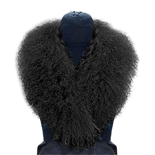 SPRINGWIND Real Mongolian Lamb Fur Collar Scarf For Winter Coat