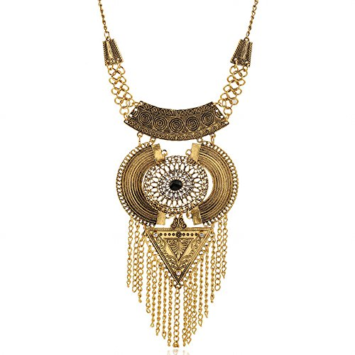 ican Ethnic Tassel Necklace Earrings Jewelry Set Vintage Women Accessories (Antique Gold) (Antique Gold Jewelry Set)