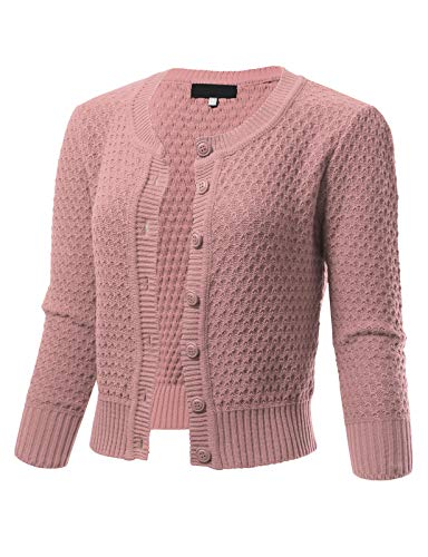 Rose Sweater Crewneck - Womens Button Down 3/4 Sleeve Crewneck Cropped Knit Cardigan Crochet Sweater S Blush