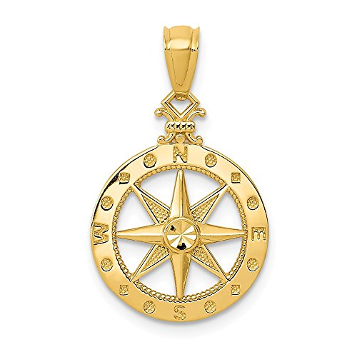 14k Yellow Gold Compass Pendant Charm Necklace Sea Shore Boating Man Fine Jewelry Gift For Dad Mens For Him ()