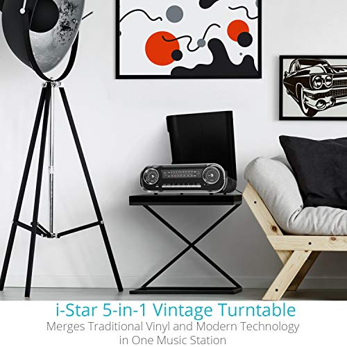 Turntable for Vinyl Records, Bluetooth Record Player with Speakers - USB MP3 Playback / Bluetooth / FM Radio / Vinyl LP Records - RCA, AUX and Headphone Output (Black)