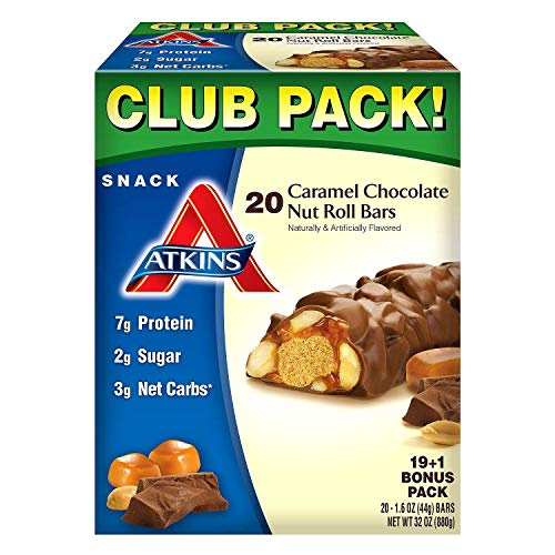 Atkins Snack Caramel Chocolate Nut Roll Pack 19 1 Bonus Bar