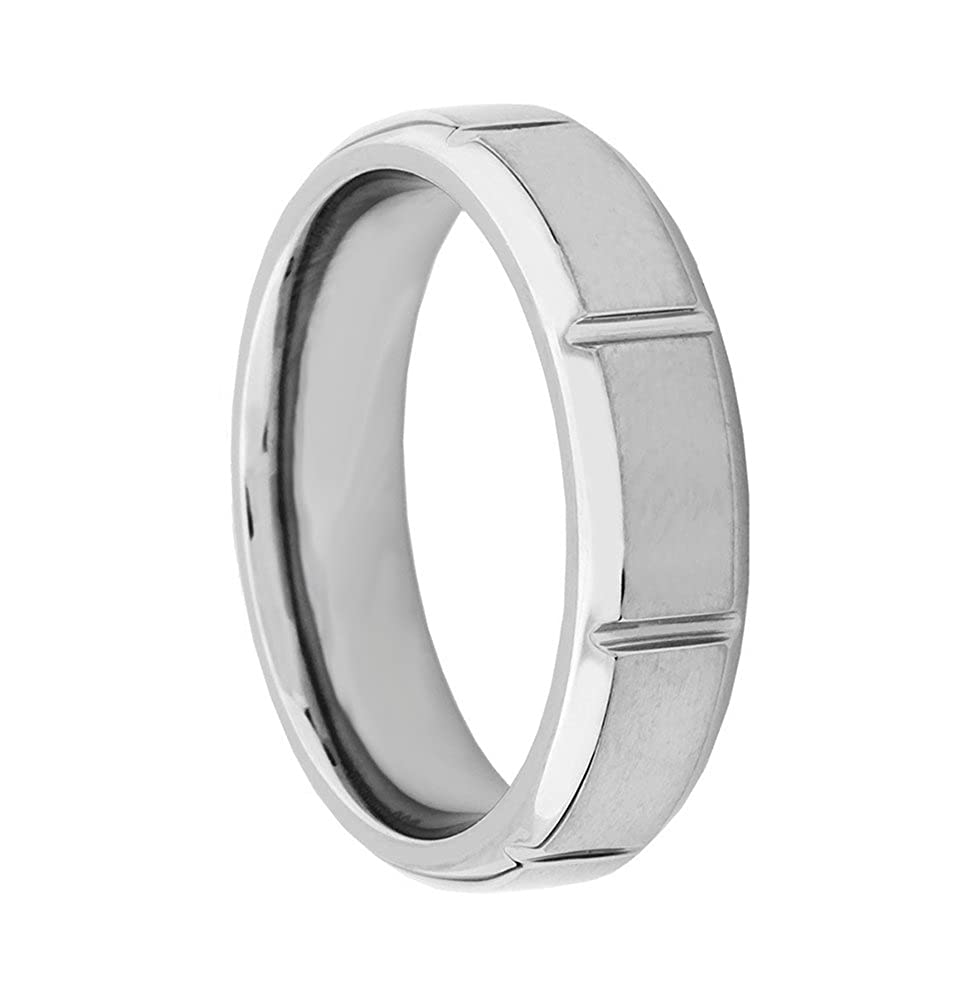 Mens Titanium Grooved 6mm Comfort-Fit Beveled Band
