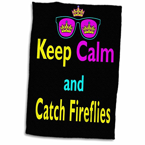 3D Rose Cmyk Parody Hipster Crown and Sunglasses Keep Calm and Carch Fireflies Hand/Sports Towel, 15 x - Sunglasses Firefly