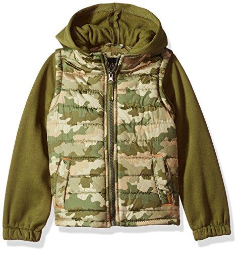 - iXtreme Boys' Little Camo Print Vest W/Fleece Hood&Sleeve, Olive, 5