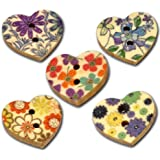 50 Heart Shaped Painted Wooden Buttons in Mixed Designs with Shizaru Designs Gift Bag