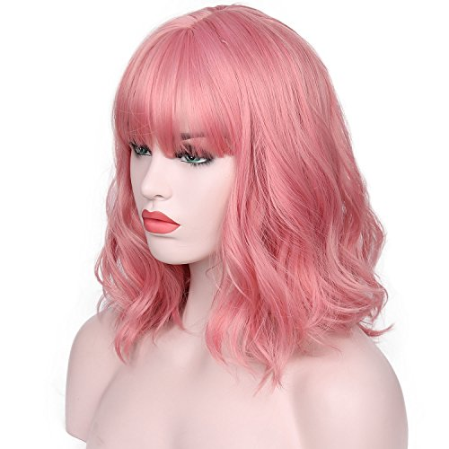 AISI HAIR Short Pink Wavy Bob Wig for Women With Air Bangs Synthetic Hair Wigs Pink Curly Cosplay Wig Shoulder Length Heat Resisitant Fiber 14 Inches 180 Grams]()