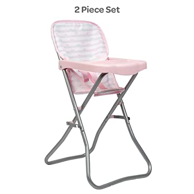 Adora Baby Doll Accessories Pink High Chair, Can Fit Up to 16 inch Dolls, 20.5 inches in Height, Baby Pink and Grey Print: Toys & Games