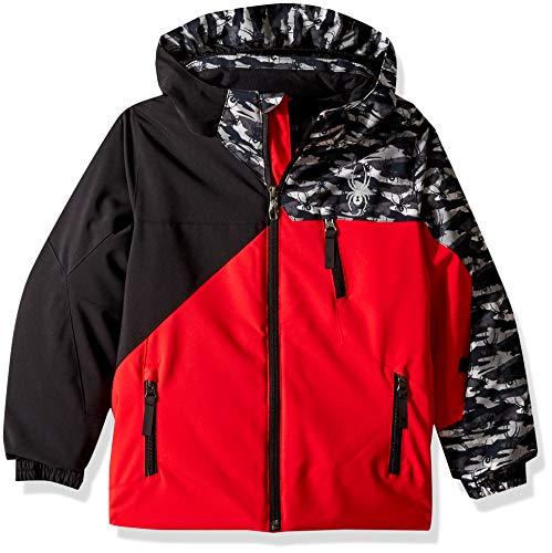 Spyder Boys' Mini Ambush Ski Jacket, Red/Black Camo Black, Size 6 ()