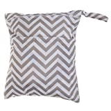 Waterproof Wet Dry Bag Baby Cloth Diaper Nappy Bag Reusable with Two Zippered Pockets Chevron