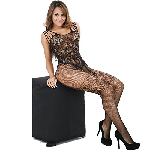 14020e6f2 Health to Happiness Women s Fishnet Jacquard Crotchless Sexy Tight Bodystocking  Lingerie