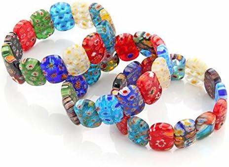 Ecloud Shop/® 3 X Fashion Millefiori Lampwork Glaskorn Armband sch/öne Armb/ände 18*13mmr