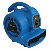 XPOWER P-80A 1/8 HP, 475 CFM, 3 Speed Mini Air Mover, Dryer, Fan, Blower with Build-in Power Outlets for Daisy Chain