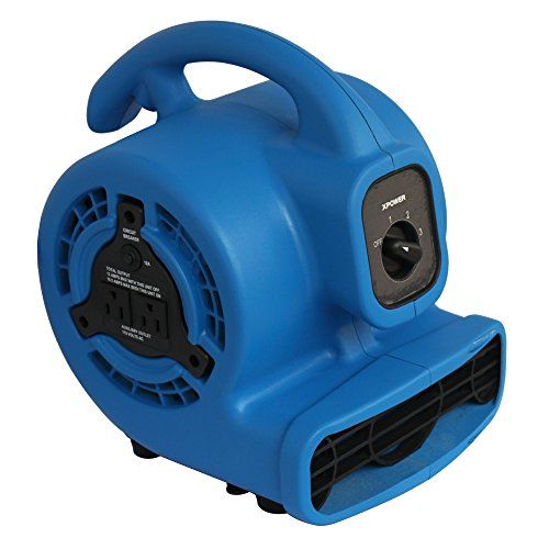 Compact Floor Fan - XPOWER P-80A Mini Mighty Air Mover, Floor Fan, Dryer, Utility Blower with Built-in Power Outlets- Blue