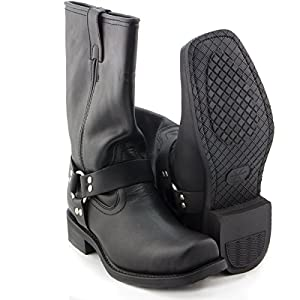 Xelement 1442 Classic Mens Black Harness Motorcycle Biker Boots - 10 1/2