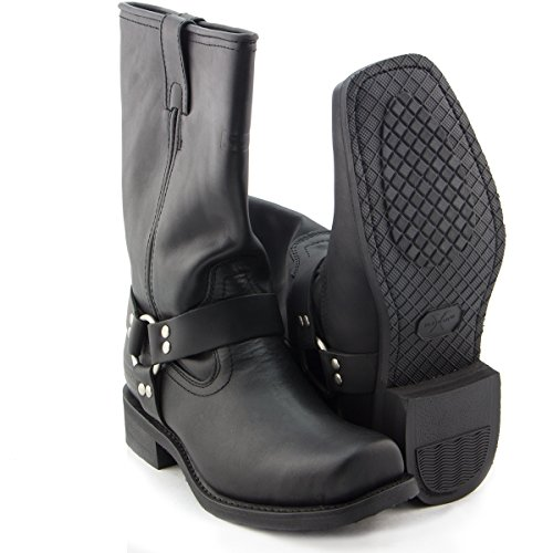 Xelement 1442 Classic Mens Black Harness Motorcycle Biker Boots - (12.0 EE)