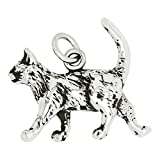 Sterling Silver Cat Charm Pendant (18 x 20 mm)