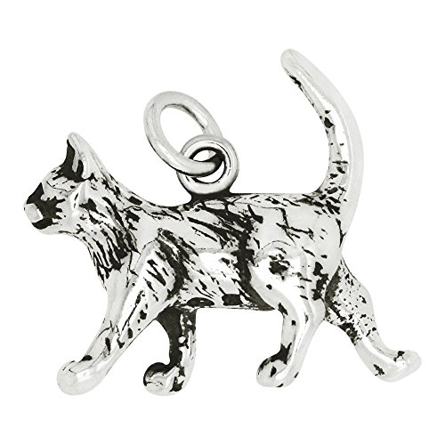Sterling Silver Cat Charm Pendant (18 x 20 mm) Sterling Silver Cat Charm Pendant