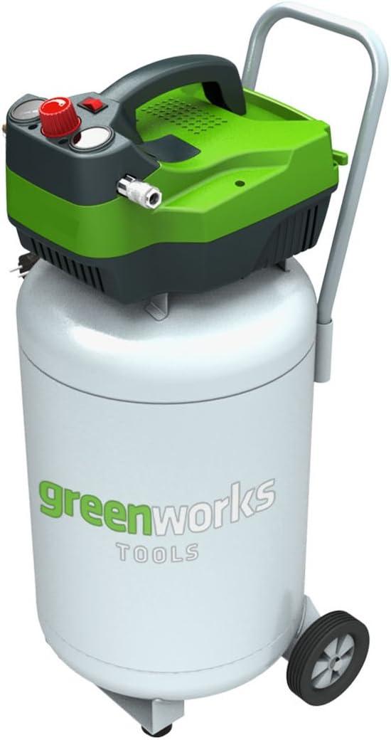 Greenworks Tools 4101907Compresor De Aire Vertical de 50L, 230V, Verde