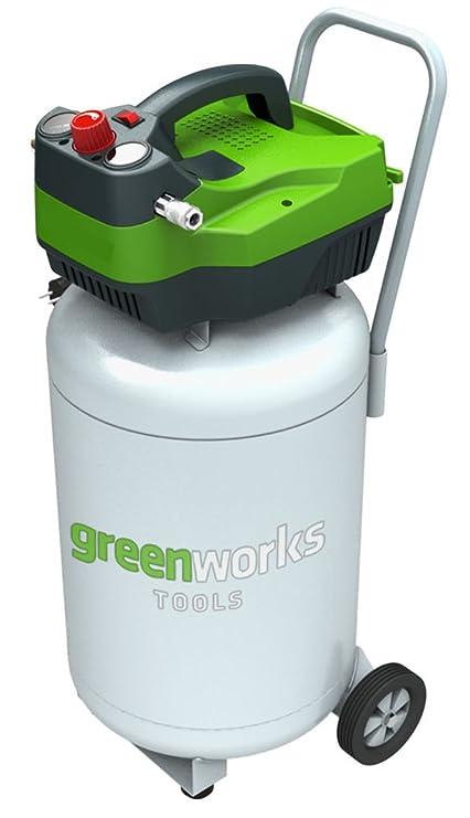 Greenworks Tools 4101907 Compresor De Aire Vertical de 50L, 230 V, Verde