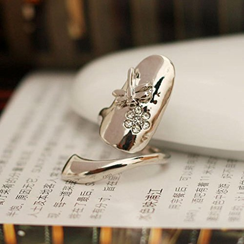 Stylish Dragonfly Flower Rhinestone Finger