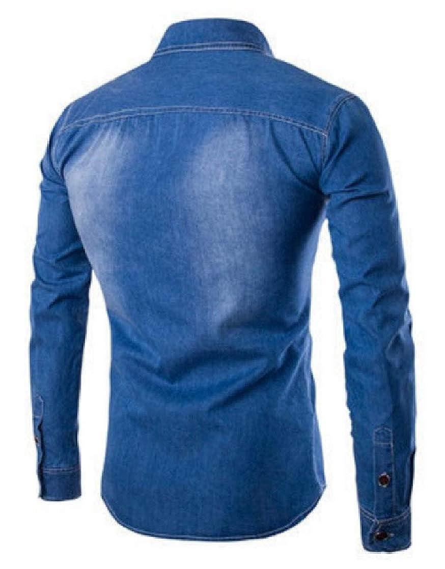 CrazyDay Mens Plus-Size Long-Sleeve Lapel Washed Standard-fit Denim Shirt