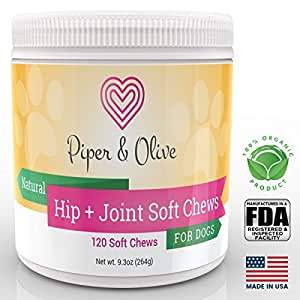 Piper and Olive Glucosamine Chondroitin, Hip and Joint, MSM, Organic Turmeric Soft Chews Supplement for Dogs, Supports Healthy Joint Function, 120-Count