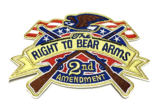 2nd Amendment US Flag - Right to Bear ARMS - Embroidered Patch Iron-on or Sew-on Tactical Military Morale Flag Series Emblem Badge DIY Appliques Application Fabric Patches