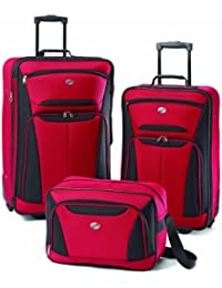 Luggage Fieldbrook II 3 Piece Set, Red/Black