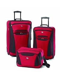 American Tourister Luggage Fieldbrook II 3 Piece Set, Red/Black