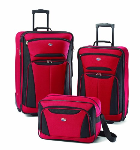 American Tourister Luggage Fieldbrook Ii 3 Pc Set, Red/Black