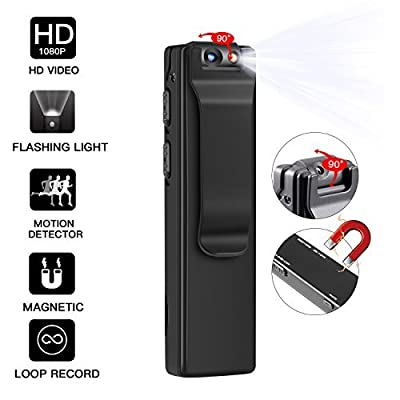 Mini Hidden Camera, HD 1080P Portable Clip Camera, Spy Magnetic Body Camera with LED Light, Spy Camera with Motion Detection/Snapshot/Loop Recording (Not included SD card) by Foreverremember