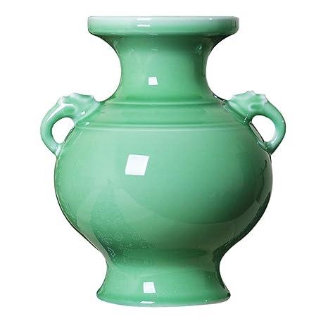 Amazon.com: Jarrón de cerámica verde esmaltado clásico ...