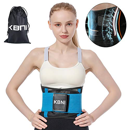Lumbar Support Belt Lower Back Brace Waist Trainer for Women Men, KBNI Unisex Adjustable Comfortable Slimming Body Shaper Pain Relief Posture Corrector for Adult and Teenagers, Blue, XXL