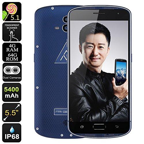 AGM X1 Rugged Smartphone - Dual-Camera, IP68, Octa-Core CPU, 5400mAh, 4GB RAM, OTG, Quick Charge, 64GB Memory (Blue)