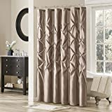 Madison Park Laurel Taupe Shower Curtain, Pieced Transitional Shower Curtains for Bathroom, 72 X 72, Beige