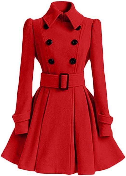 TALLA S. SHOBDW Mujer Liquidación de la Venta Tops de Manga Larga de Moda Espesar cálida Lana Parka Chaqueta de la Correa del Vestido de la Solapa Outwear sólido Abrigos de Invierno Rojo S