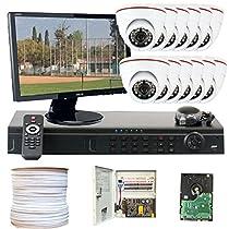 GW Security VD-12CHT2 16-Channel HD-TVI DVR 12 x 1/3 1.3MP Camera, 3.6mm Lens, 720P, 24 IR LEDs, 46 IR-Feet