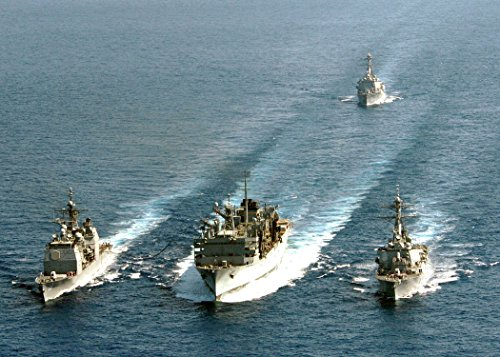 The guided-missile cruiser USS Anzio (CG 68), fast-combat support ship USNS Arctic (T-AOE 8) and gu Fast Combat Support Ships