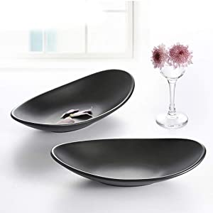 Yogee A5 Melamine Jewelry Dish Organizer, Decorative Trinket Dish,Accent Tray for Vanity,Food Safe Dishware,Frosted Black (Ship, Set of 2)