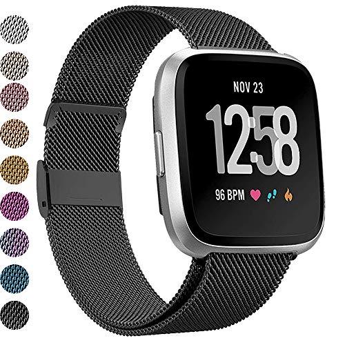 Malla para Fitbit Versa, Stainless Steel, negro, talle s