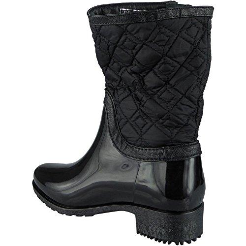 Damen Wellington Winter Regen Niedrig Hacke Mitte Kalb Gummistiefel Stiefel Größe 36-41 Schwarz
