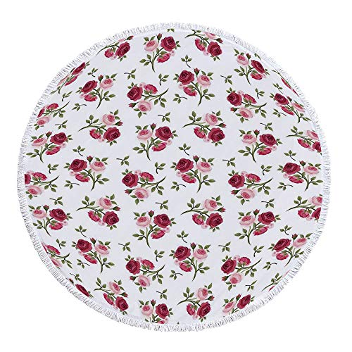 (Roses Decorations Printing Round Beach Towel,Pattern with Rose Stems Flowers Garden Classic English Style Design Repeat Art Decorative for Beach Blanket Table Cloth Picnic Mat,59.1