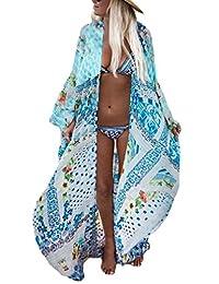 2622ce3610 Bsubseach Womens Long Chiffon Beach Blouses Cardigan Kimono Bikini Cover Up